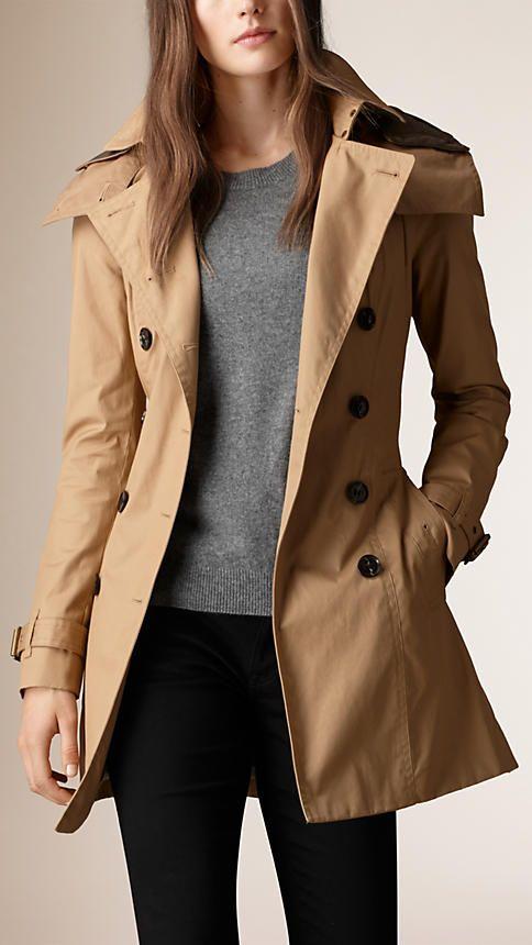 Camel clair Trench-coat à capuche avec gilet intérieur - Image 1 c452a411bac0