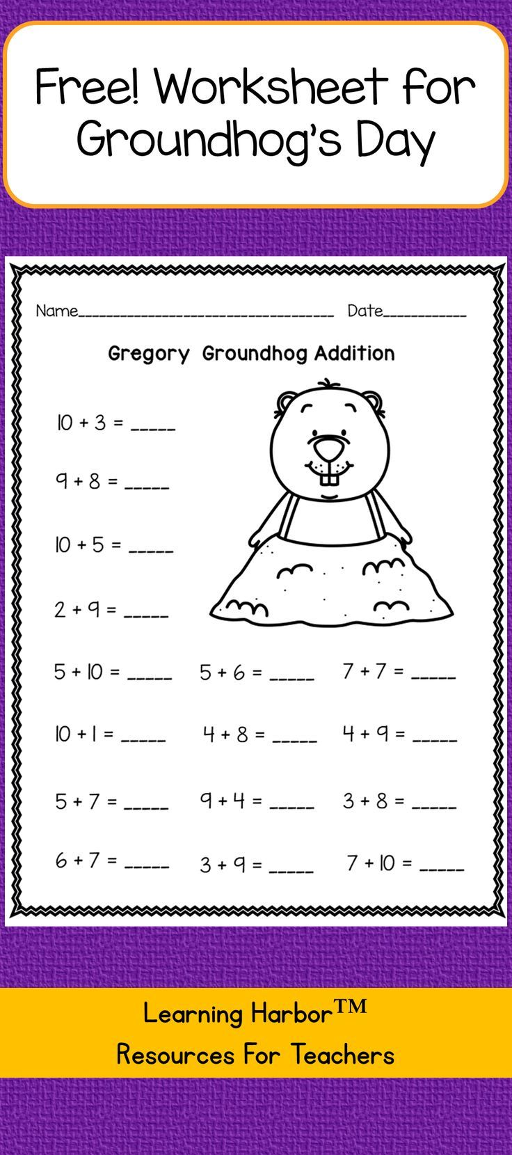 FREE Groundhog Day addition within 20 worksheet. Download this PDF ...