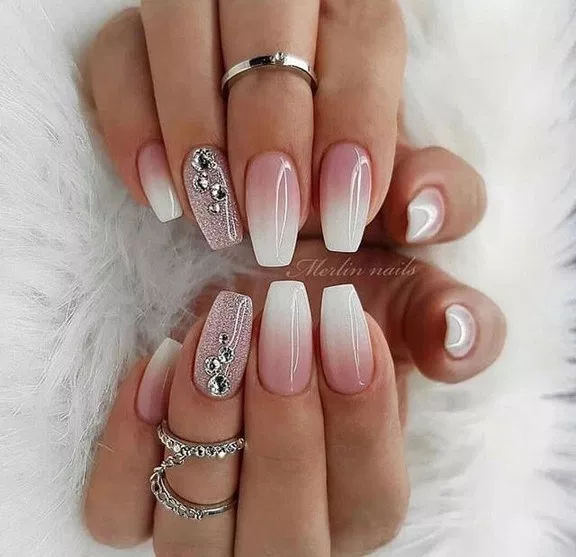 76 French Ombre Glitter Marble And Crystals On Long Coffin Nails 33 Lifestylesinspiration Com Trendy Nail Art White Nail Designs Cute Nail Art Designs