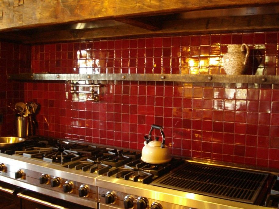 Bold Red Brick Backsplash with Neat and Rustic Looks : Red ...