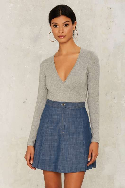 Handle With Flare Denim Skirt