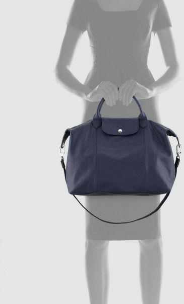 9e212b188bdc on my LIST... Love Classic Style.. Longchamp Le Pliage Cuir Large Tote Bag  in Blue (navy)