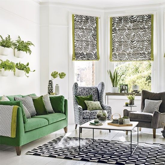 Green Living Room Ideas For Soothing Sophisticated Spaces: Retro Living Room With Grass Green Rug And Vintage Prints