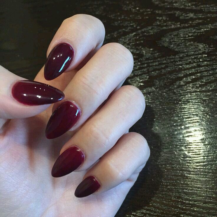 Short Dark Red Almond With Images Wine Nails Red Nails Almond Acrylic Nails