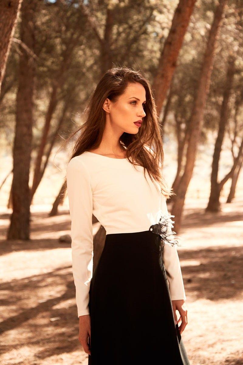 9255a582b vestido bicolor blanco y negro largo de fiesta con manga larga cuello  redondo para invitadas de bodas nochevieja fiestas eventos apparentia
