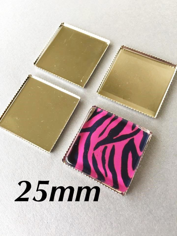 20 Platinum Plated Brass 25mm Square Bezel Cups Tray