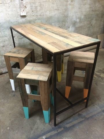 Dip-dyed reclaimed timber table and stools & RecycLED TIMBER BAR TABLE | Wooden furniture | Pinterest ... islam-shia.org