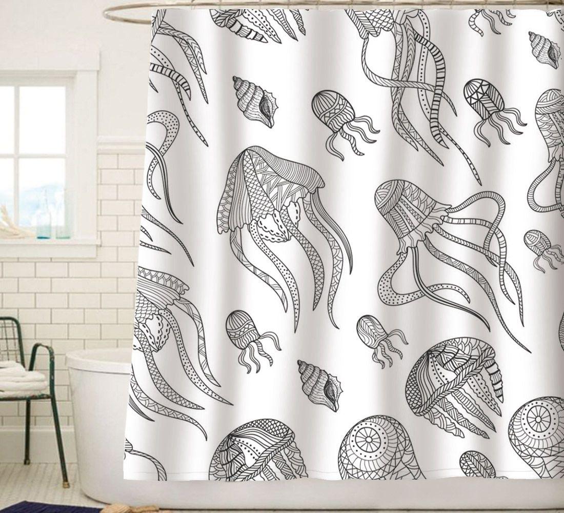 Sunlit White Jellyfish Squid Tentacles Fabric Shower Curtain
