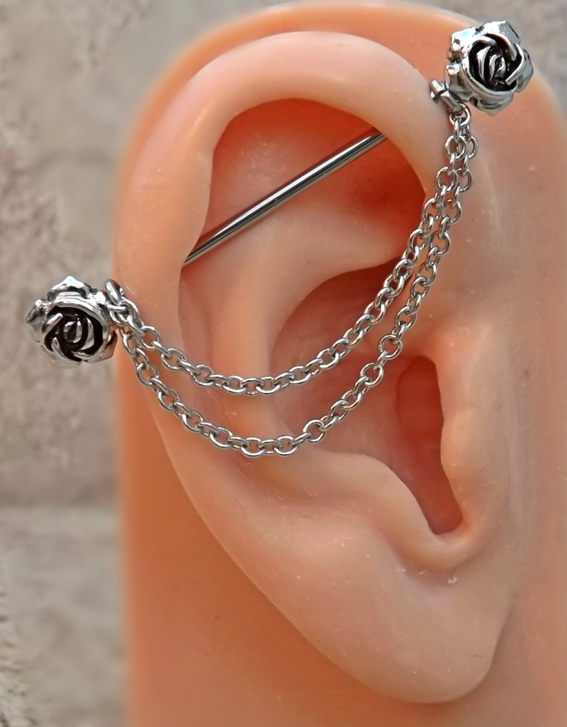 What is body piercing  Rose Industrial Barbell Rose Center ga Body Jewelry Ear Jewelry