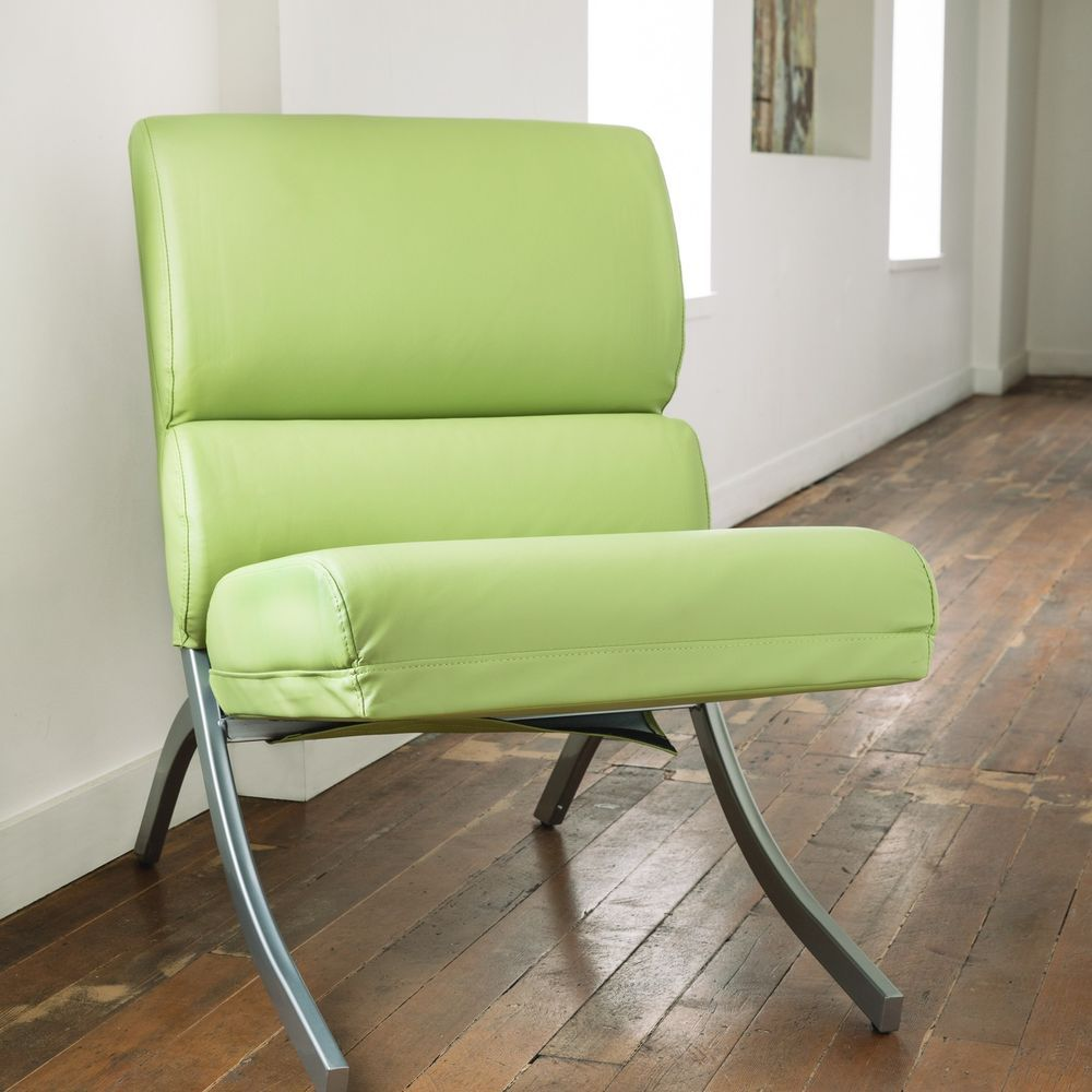 Lime Green Leather Chair Accent Chair Armless Leather