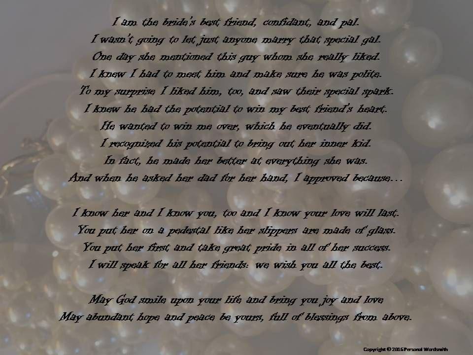 Maid Of Honor Speech Print Bride S Best Friend Toast Matron Of