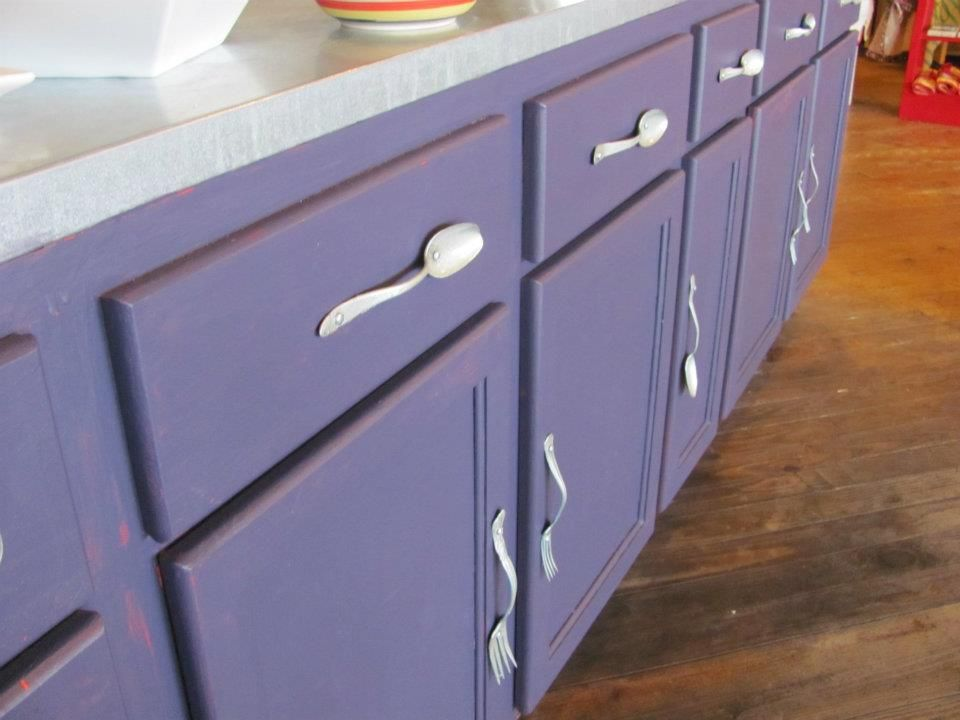 Fork and spoon cabinet pulls. DIY. | DIY | Pinterest | Kitchens ...