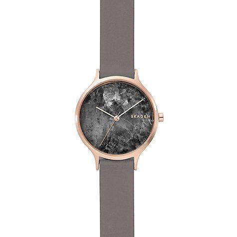 0f7e8f40b Buy Skagen SKW2672 Women's Anita Leather Strap Watch, Grey/Black Online at  johnlewis.com