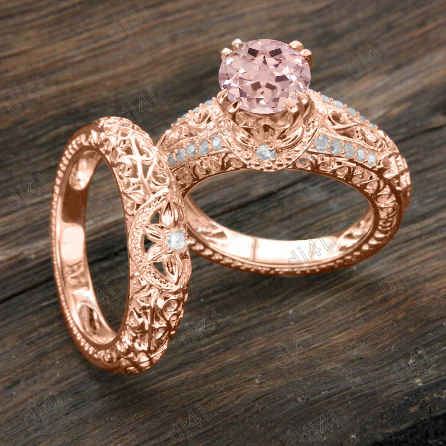 Solid 14K Rose Gold Women's Engagement Ring