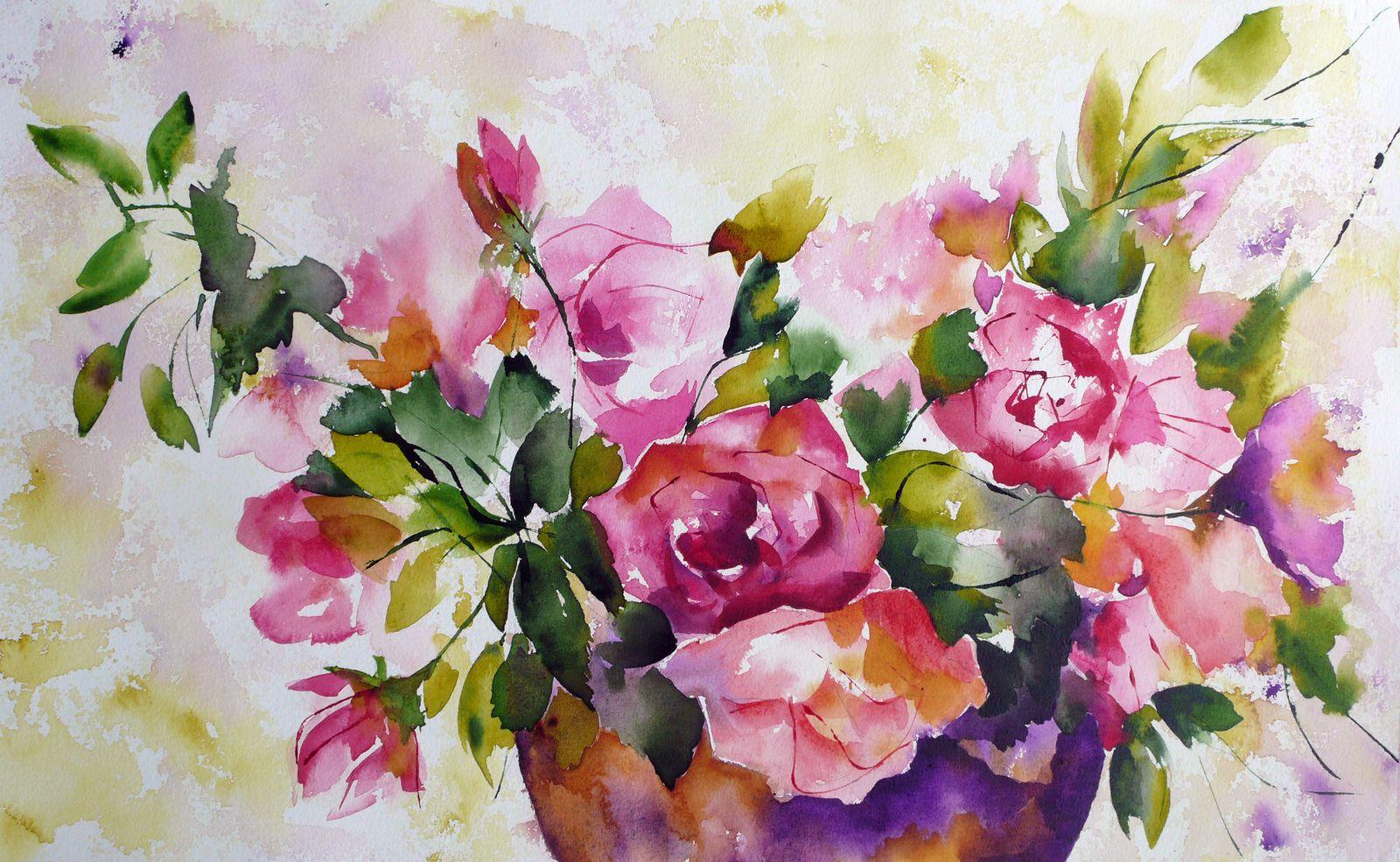 Bouquet Pour Yan Peinture Fleurs Papier Peint A Fleurs Et Art