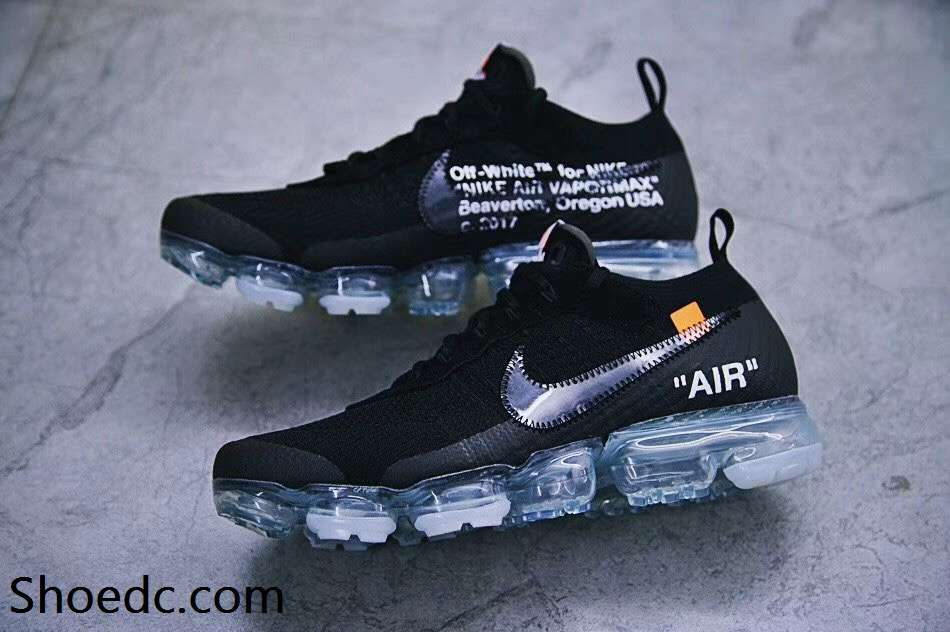 a2631027ad63 OFF WHITE x Nike Air VaporMax 2018 OW 2.0 Flyknit Black Women Men ...