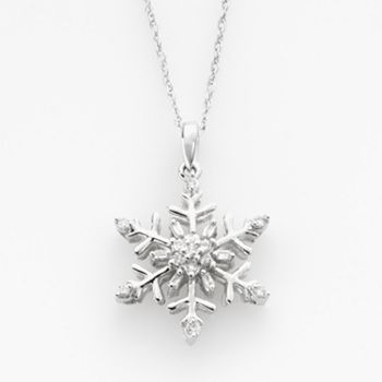 Diamond Petites 10k White Gold 1 10 Ct T W Diamond Snowflake Pendant Nature Inspired Jewelry Snowflake Pendant Pendant