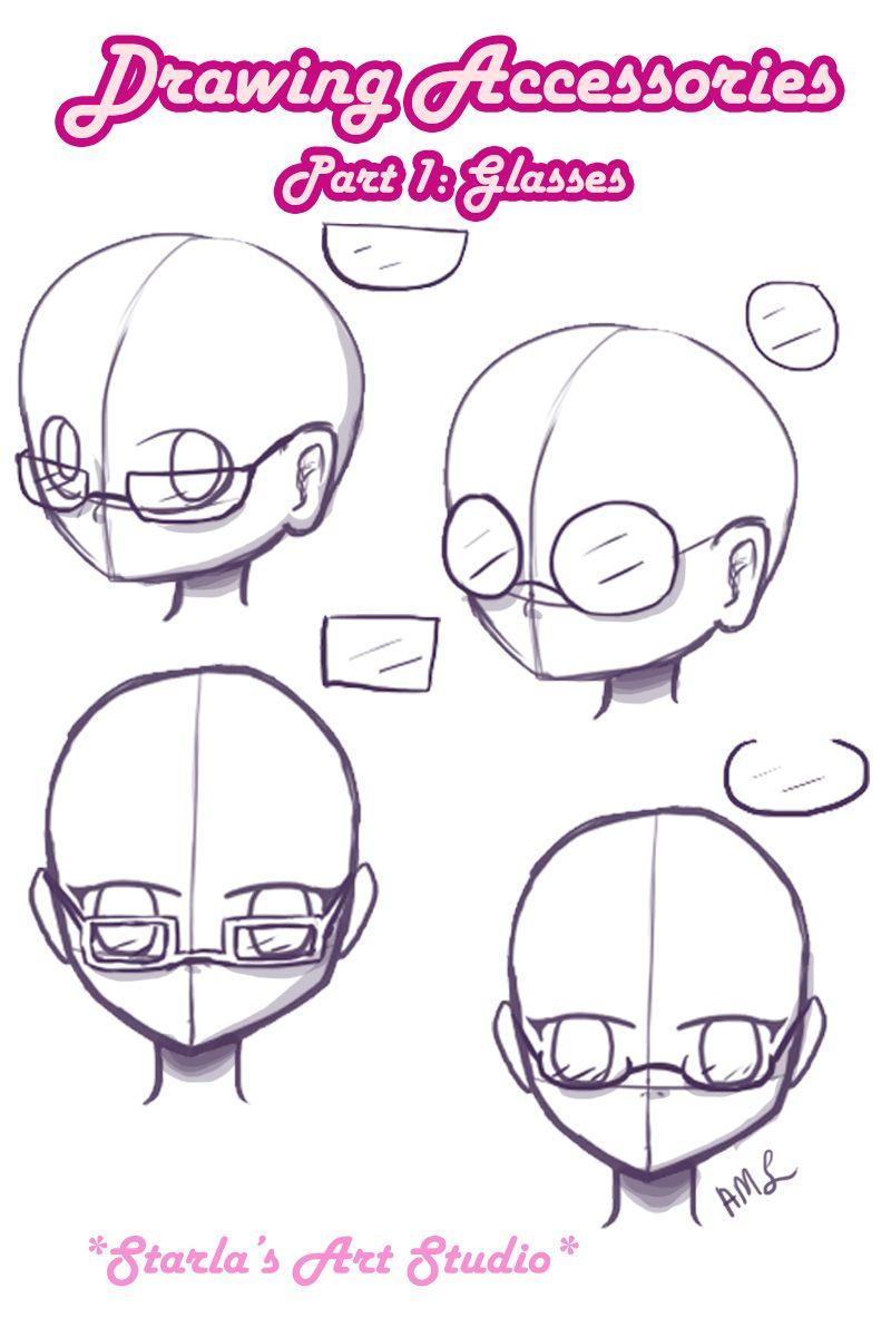 how to draw a face with glasses
