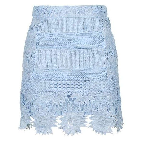 TopShop Cutwork Flower Lace a-Line Skirt (£38) ❤ liked on Polyvore featuring skirts, gonne, blue floral skirt, lace skirts, topshop skirts, floral print skirt and flower skirt