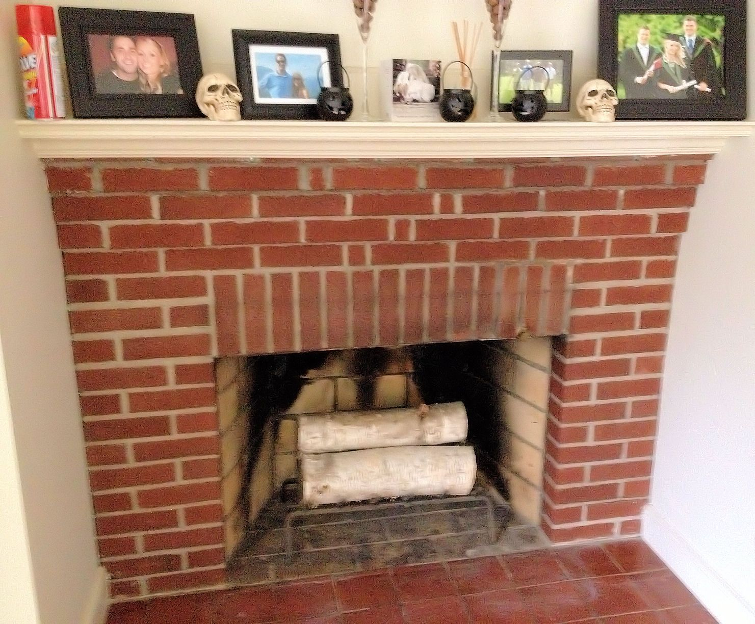 Red brick fireplace tile hearth tiles decor - Tile over brick fireplace ...