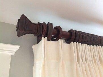 Wood Curtain Rod With Square Finial Drapery Nation Wood Curtain