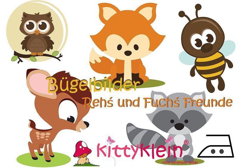 BÜGELBILDER ♥ Rehs und Fuchs´ Freunde ♥ Din A4 von kittyklein auf DaWanda.com