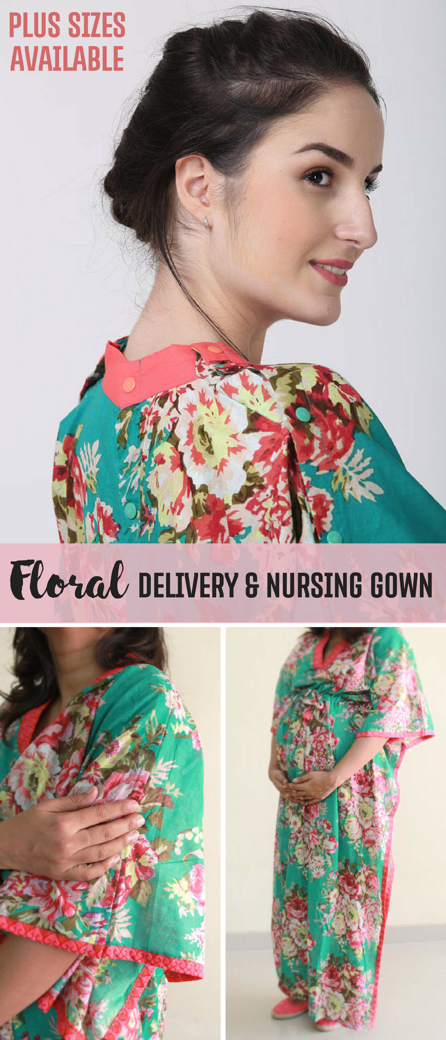 Long floral maternity gown | hospital robe | labor and delivery gown ...