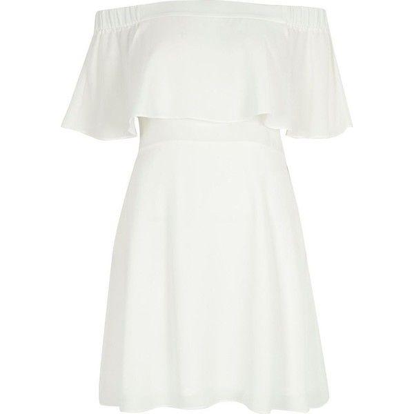 River Island Cream deep frill bardot dress (135 BRL) ❤ liked on Polyvore featuring dresses, vestidos, cream dress, short skirts, white ruffle mini skirt, ruffle mini skirt and flared dresses