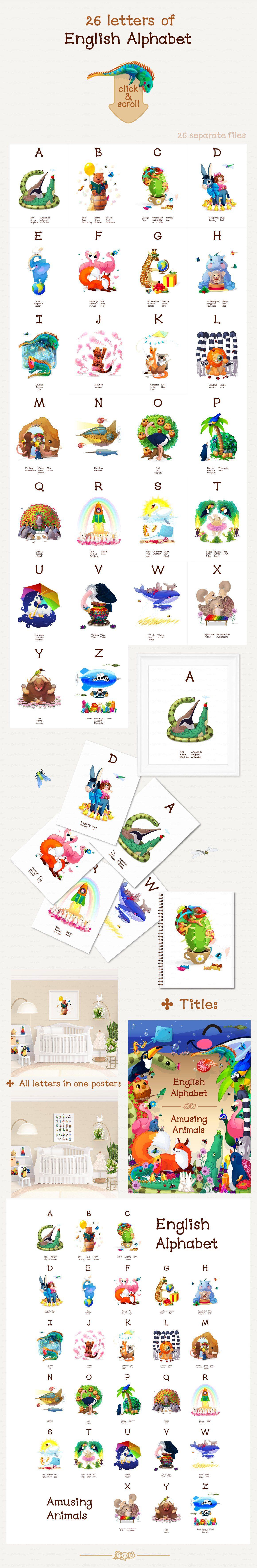 ♥ vector English ABC. Animals | Animal alphabet, English abc, Learn english