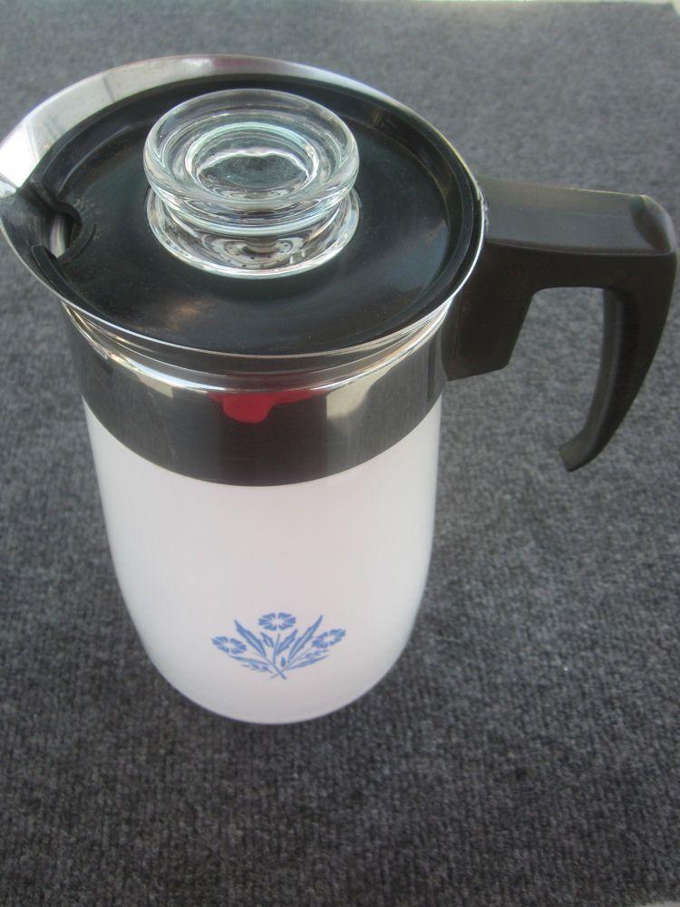 Corning Ware Blue Cornflower 9 Cup Coffee Carafe/ Beverage Server RARE Vintage #CORNINGWARE