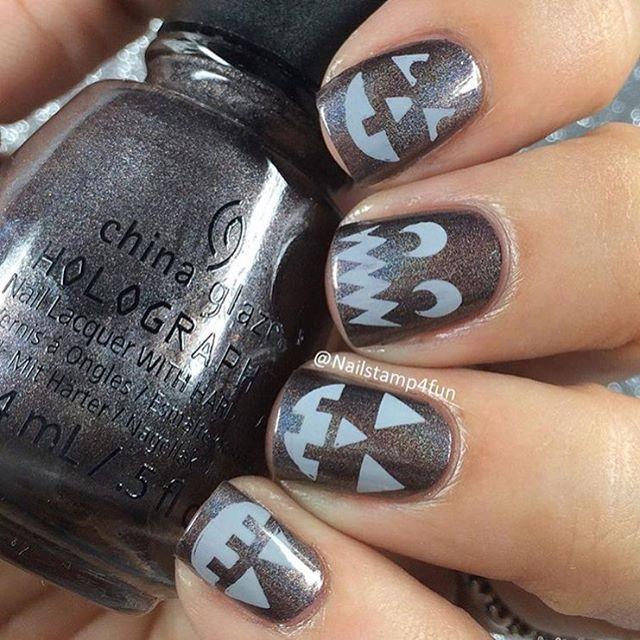 Thanksgiving Nail Art Tutorials: Cute And Simple Halloween Nails By @nailstamp4fun Using