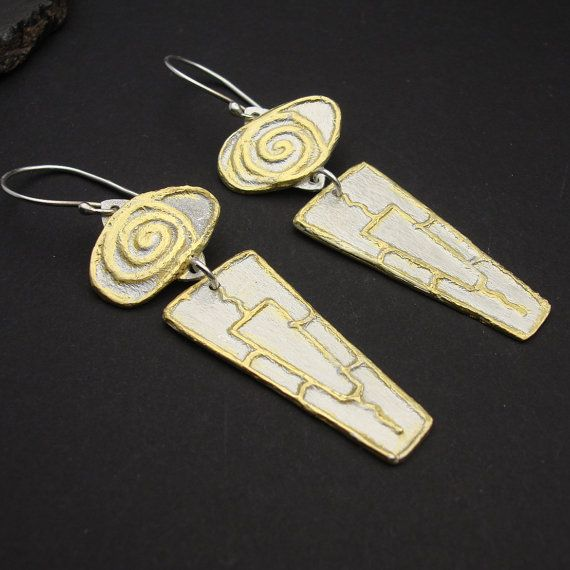 NEW DESIGN Cleopatra Gold and Silver Long Dangle by designsbysuzyn