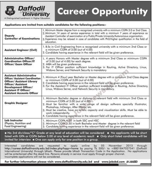 Job Opportunity at Daffodil University University Jobs in - resume for freshmen civil engineering