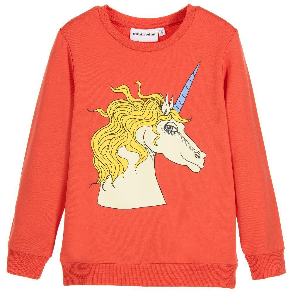 Mini Rodini Red Unicorn Modal Sweater at Childrensalon.com