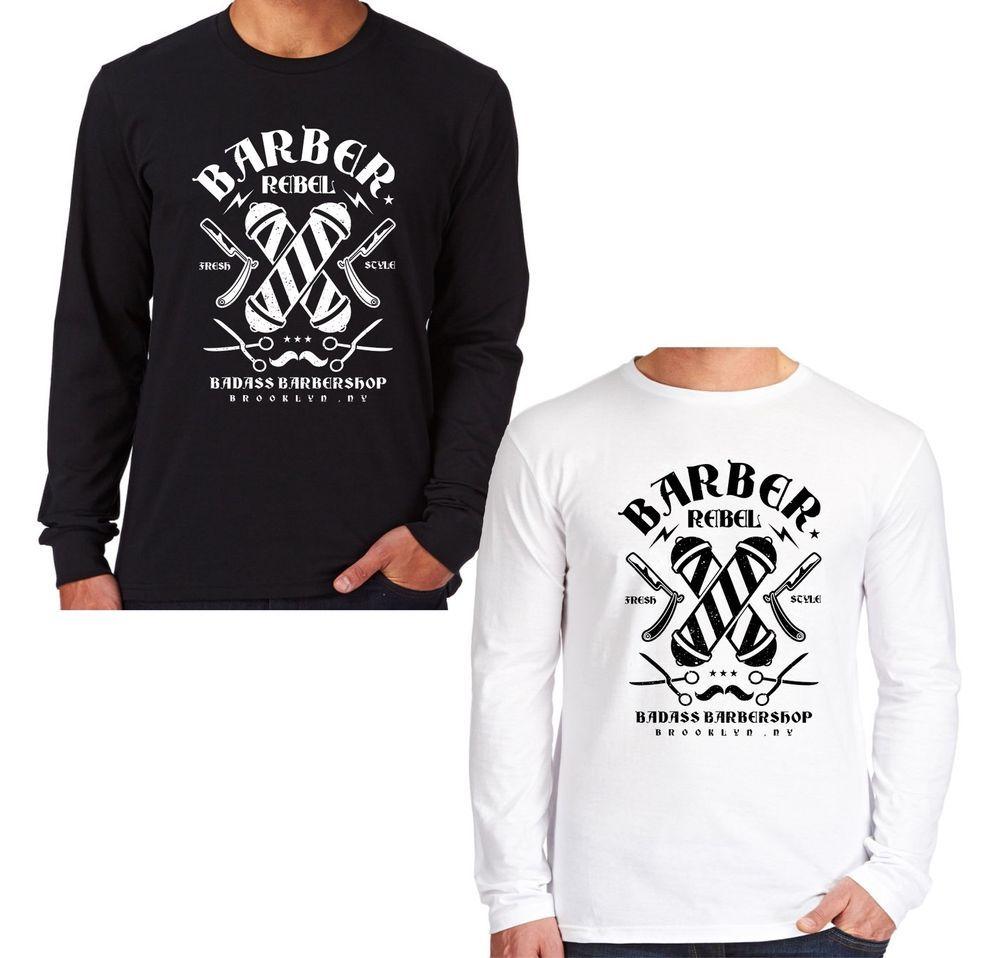 Velocitee Mens Long Sleeve T Shirt Barber Shop Rebel Hipster NY Barbers V26 #Velocitee