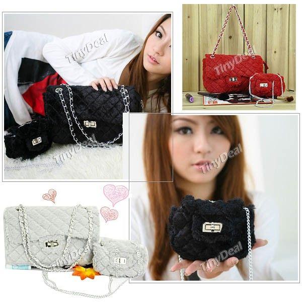 Stylish Grid Pattern Fur One Shoulder Bag Satchel Handbag with Small Bag   Chain for Women Lady NBG-60286
