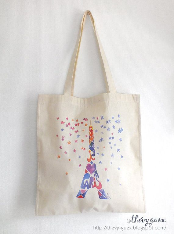 Tote Bag Bio Tour Eiffel Sac Coton Bio Paris France Sac Paris