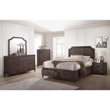 Dark Grey Oak Bedroom Furniture 4pc Set Queen Size Bed w Storage