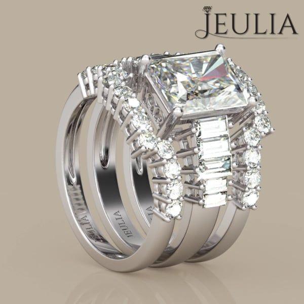 360 View Of 3PC Emerald Cut Created White Sapphire Rhodium Plating Sterling Silver Womens Ring Wedding SetsWedding