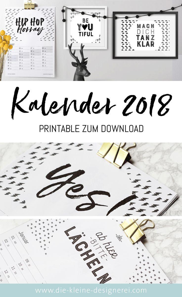 kalender 2018 zum ausdrucken in schwarz weiss mit. Black Bedroom Furniture Sets. Home Design Ideas