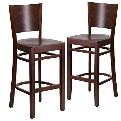 Flash Furniture 2 Pk Lacey Series Solid Back Walnut Wood Restaurant Barstool  *** Click
