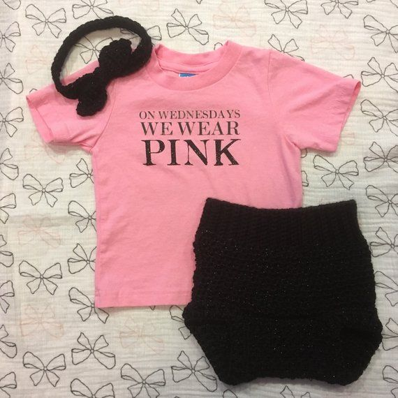 ab0f3249 On Wednesdays We Wear Pink shirt with crocheted headband and Mean Girls,  Mommy And Me