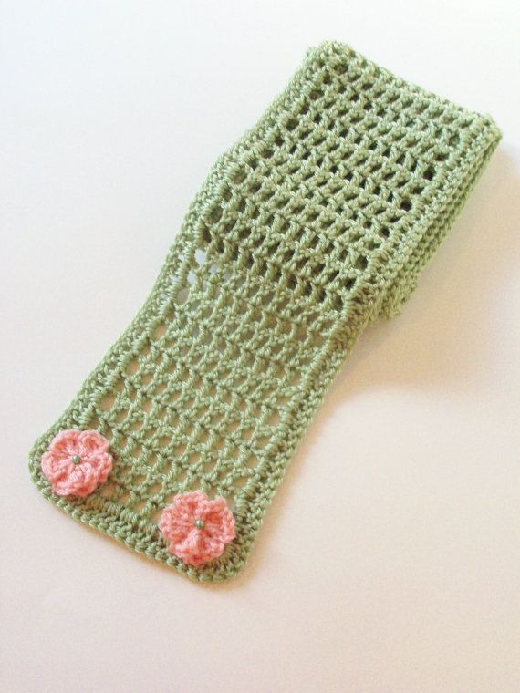 Wildflowers Scarf  Frosty Sage Mesh Scarf  with by BeyondCrochet