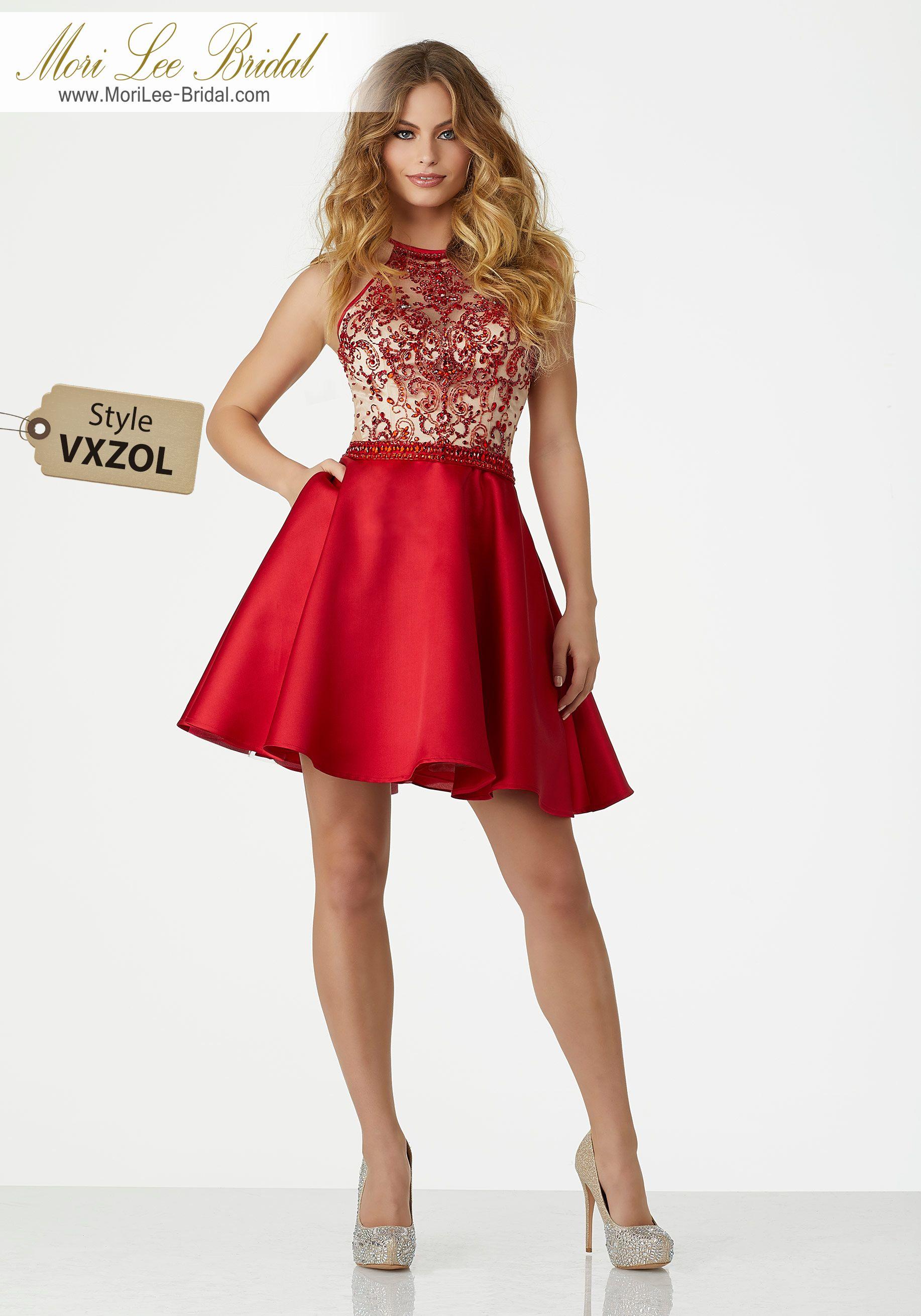 Yizi royal red satin skirt and red black