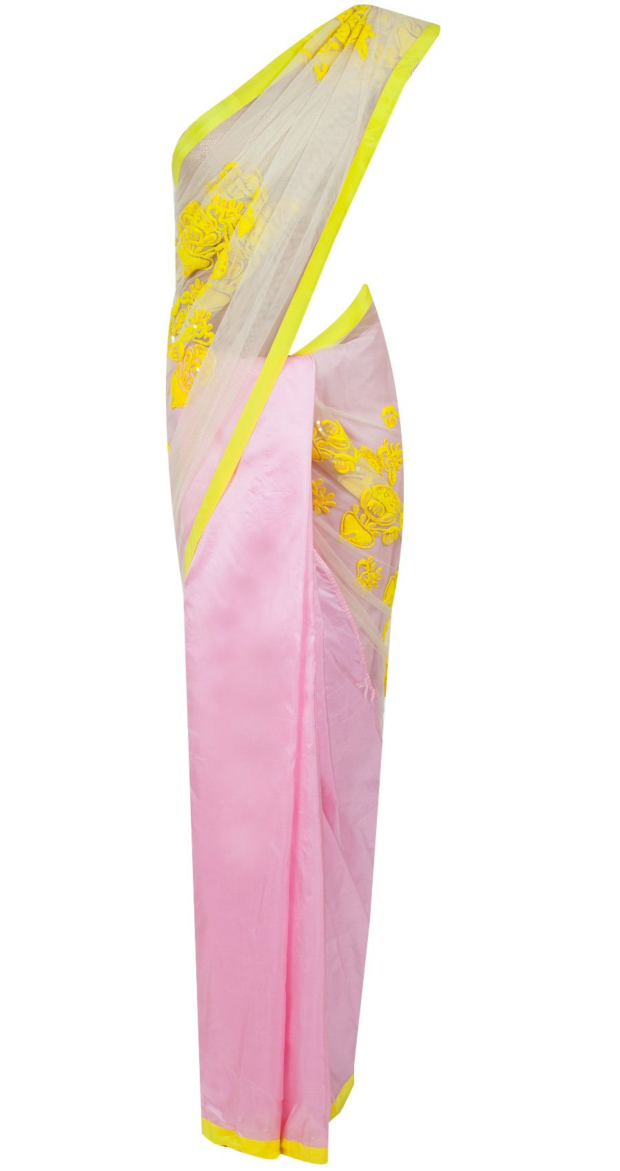 Baby pink and white net sari available only at Pernia\'s Pop-Up Shop ...