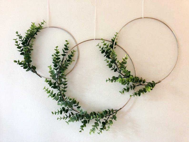 Metal Hoop Wreath Simplistic Shabby Chic Green Eucalyptus | Etsy