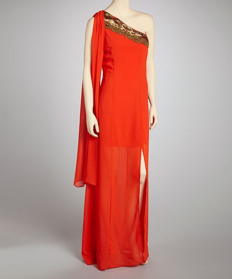 Orange & Gold Asymmetrical Dress - Women | tickled my fancy | Pinterest