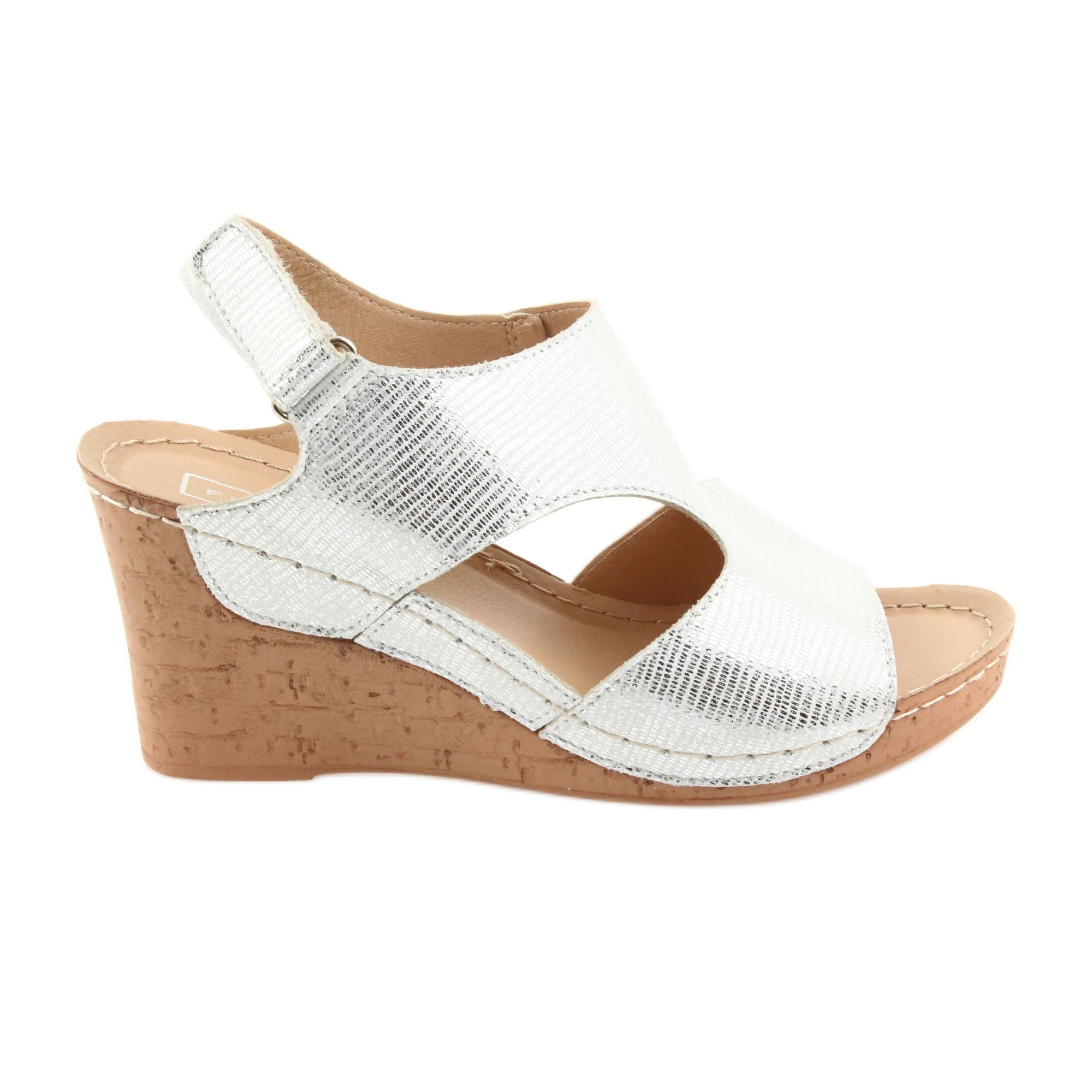 Filippo Sandaly Na Koturnie Srebrne 785 Biale Szare Wedges Shoes Cork Wedge