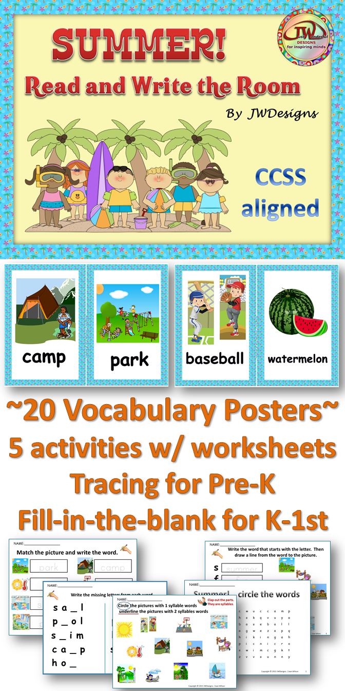 SUMMER Write the Room Summer Literacy Activities and Worksheets ...