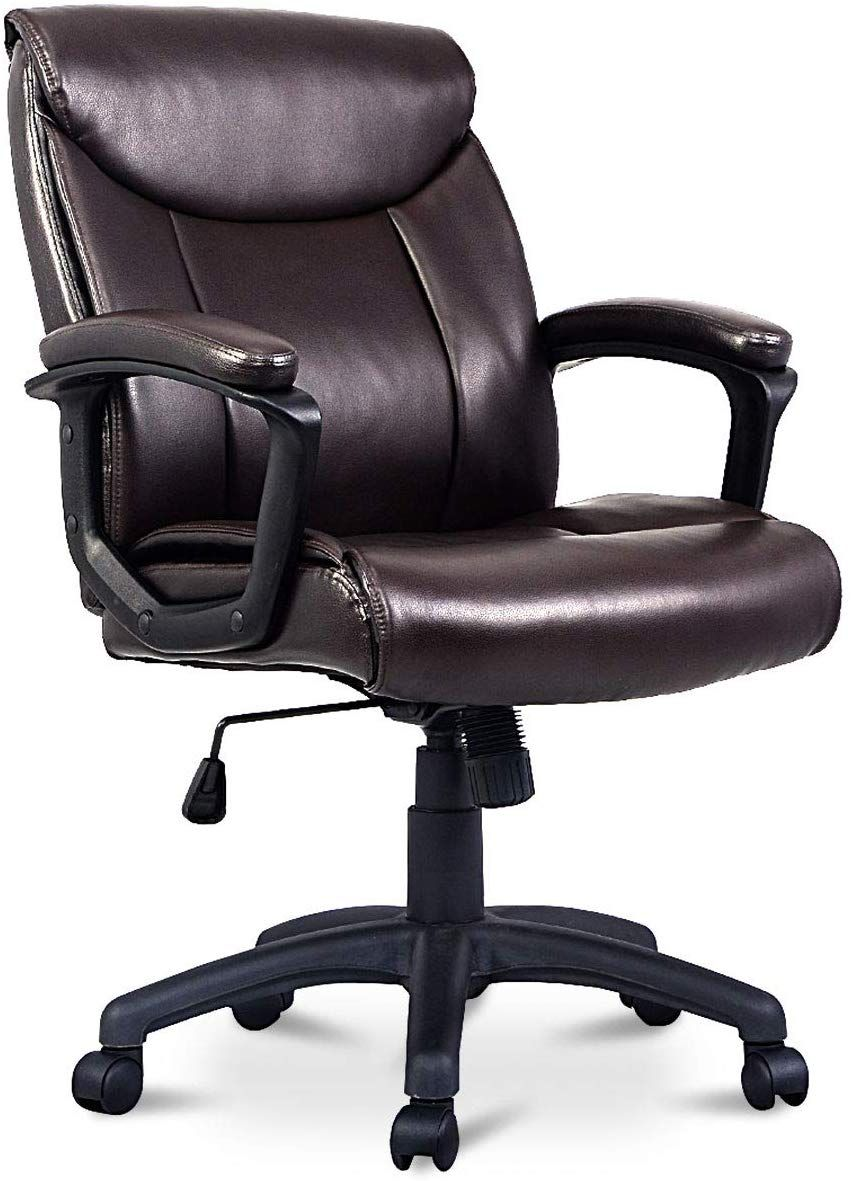 Giantex Mid Back Office Chair PU Leather Ergonomic
